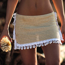 2019 Women s Sexy Beach Bikinis Swimwear Skirts Handmade Crochet Breathable Wrap Summer Bikini Mini Shell Black A-line Skirt
