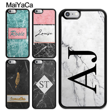 MaiYaCa PERSONALISED INITIALS NAME MARBLE TPU Case For iphone XS MAX X XR 6S 6 7 8 Plus 5s SE Cover Rubber Phone