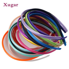 20Pieces/lot Solid Satin Covered Headband For Kid Girls 10 mm Width Candy Color Hairband Hair Accessories Hoop