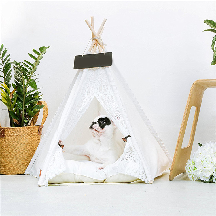 2018 Kawaii White Lace Pet tent Dog house dog bed Pet House Tent Wood Kennel Puppy Dog Cat Bed House With Mat Pet Supplies Pads image
