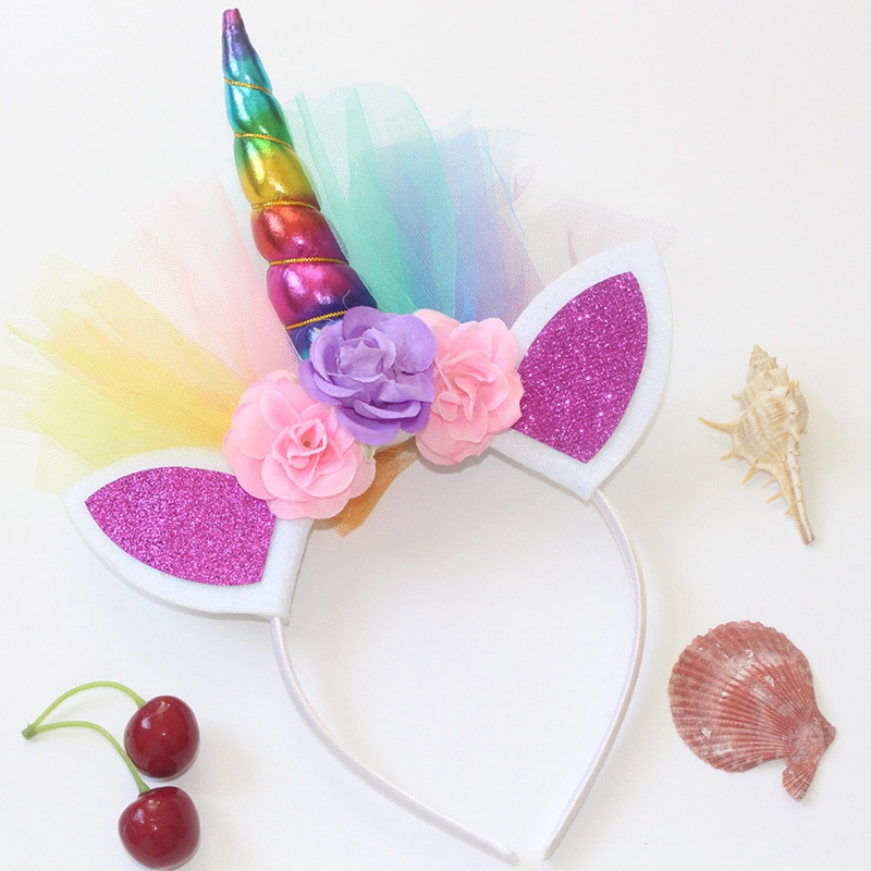 Costumes & Accessories Confident Floral Unicorn Horn Headband With Ears Girls Adult Hairband Costume Fancy Dress Hair Accessories