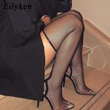 Eilyken/Новинка года; сезон лето-осень; пикантные Сапоги выше колена с острым носком на высоком каблуке; флуоресцентные сапоги-носки; босоножки; размер 42