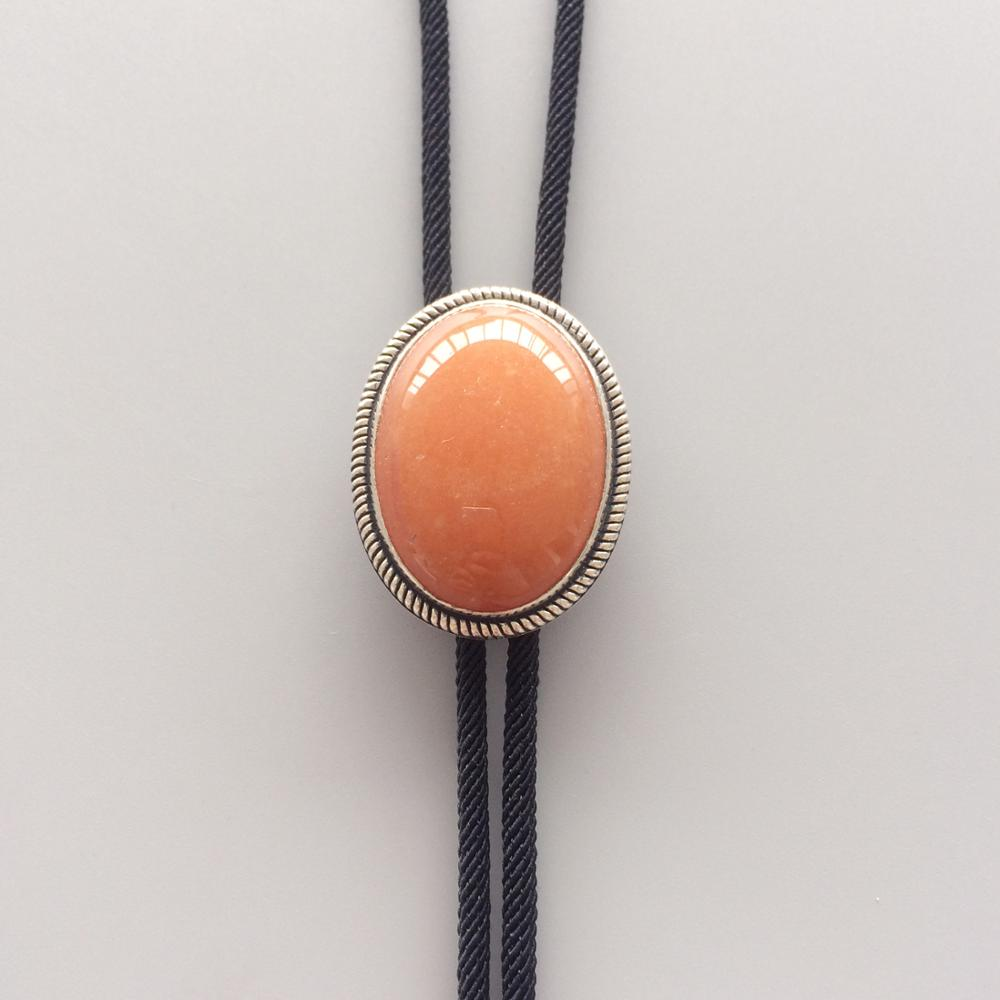 New Original Vintage Sterling Silver 925 Nature Red Aventurine Stone Wedding Oval Bolo Tie Necklace BOLOTIE-S061