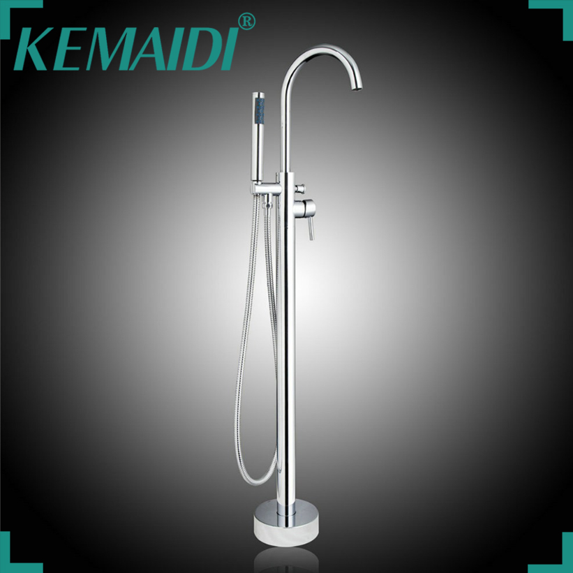 KEMAIDI US Polished Chrome Floor Stand Bathtub Faucet Free Standing Bath Shower Mixer Set Output  Bathroom Tap Single Handle free shipping polished chrome finish new wall mounted waterfall bathroom bathtub handheld shower tap mixer faucet yt 5331