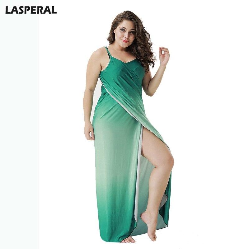 LASPERAL Plus Size Sexy Halter Maxi Dress Spaghetti Strap Women Vestido Sleeveless Overall Summer Gradient Beach Vestidos Towel