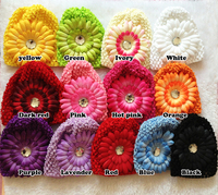Hair accessory 5set Wholesale&Retail Infant toddler baby girl 15cm*14cm crochet hat Knitted cap with 4