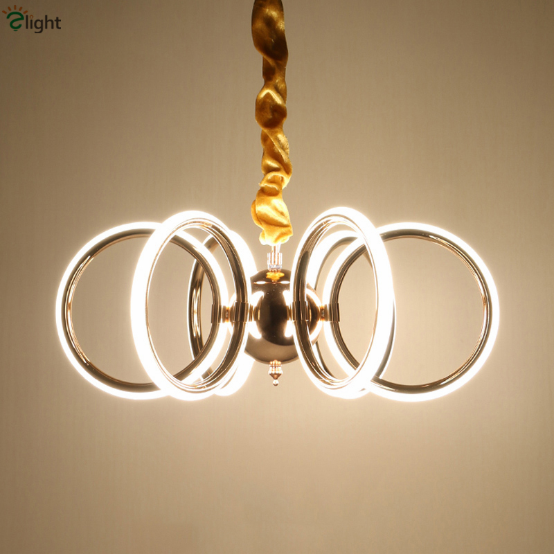 2016 Post Modern Stepless Dimmable Led Gold Pendant Light Acrylic Mask Chain Plate 6 Rings Suspension Lamp For Dining Room