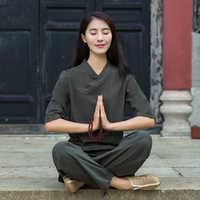 Top คุณภาพผ้าลินินโยคะชุดพุทธสมาธิหญิง Monk Kung fu ชุดศิลปะการต่อสู้ชุดผู้หญิงหลวมโยคะเสื้อผ้า