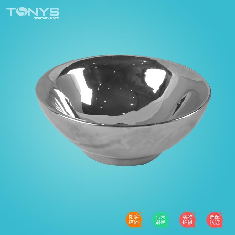 Подробнее о ktv high-end basin silver ceramic Circular basin multicolour handbasin silver countertop washbasin Bathroom circle sinks 8911 ktv
