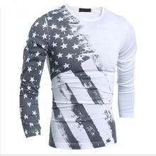 2016 Spring Fashion Men's Tops Tees Long Sleeve USA American Flag Printed Tops Tees Men's Sweatshirt Fitness Camiseta H7751