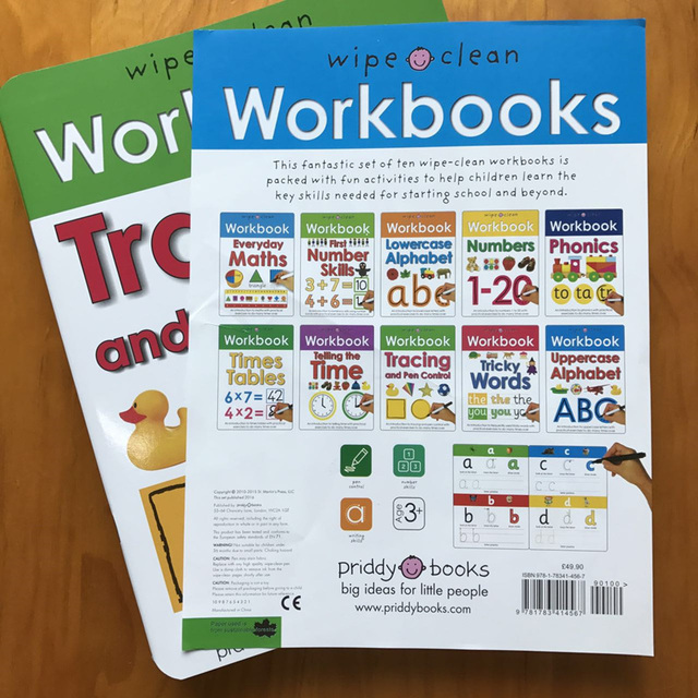 10Books/set Wipe Clean Workbook Children English Writing Book Times Tables Maths Number Skill Tricky Phonics Words Alphatbet ABC 3