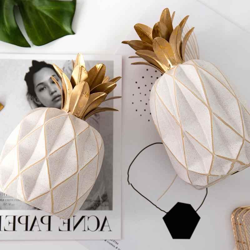 Stile europeo di Ceramica Nero/Oro Ananas Manufatti Per L'arredamento Scultura Personalizzata Frutta Modellazione Decorazione Della Casa R180