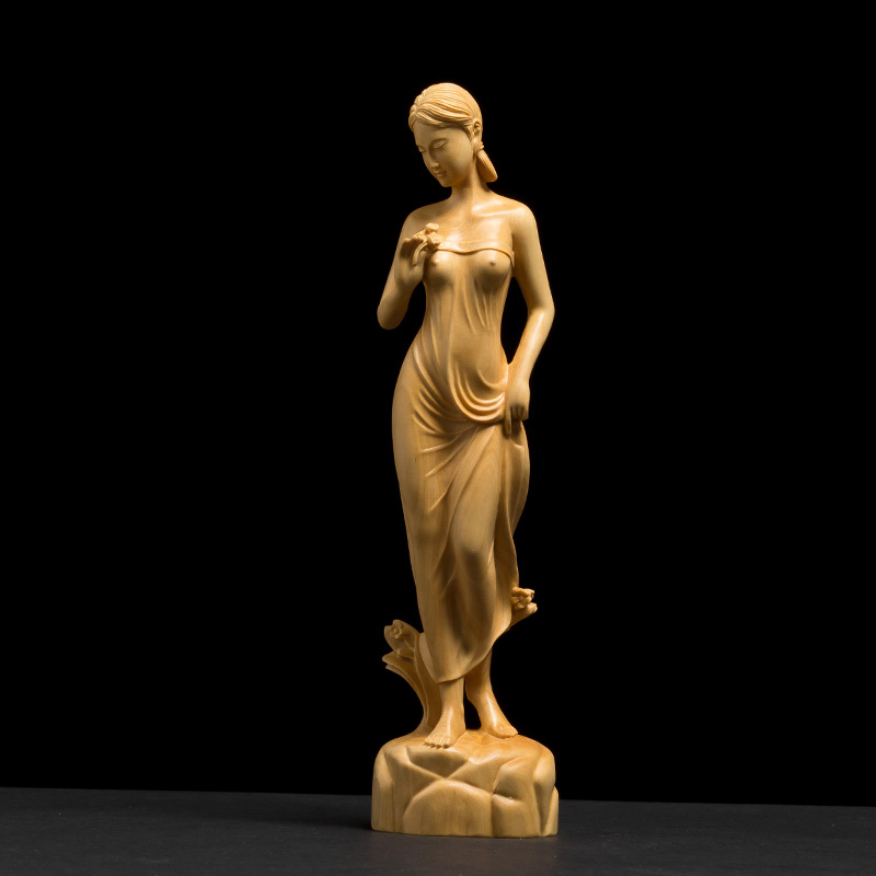 High Quality Woodcarving Hall Ornaments Figure Statue Manual Craft Small Ornaments Wooden Crafts Sculpture Decorations Gifts
