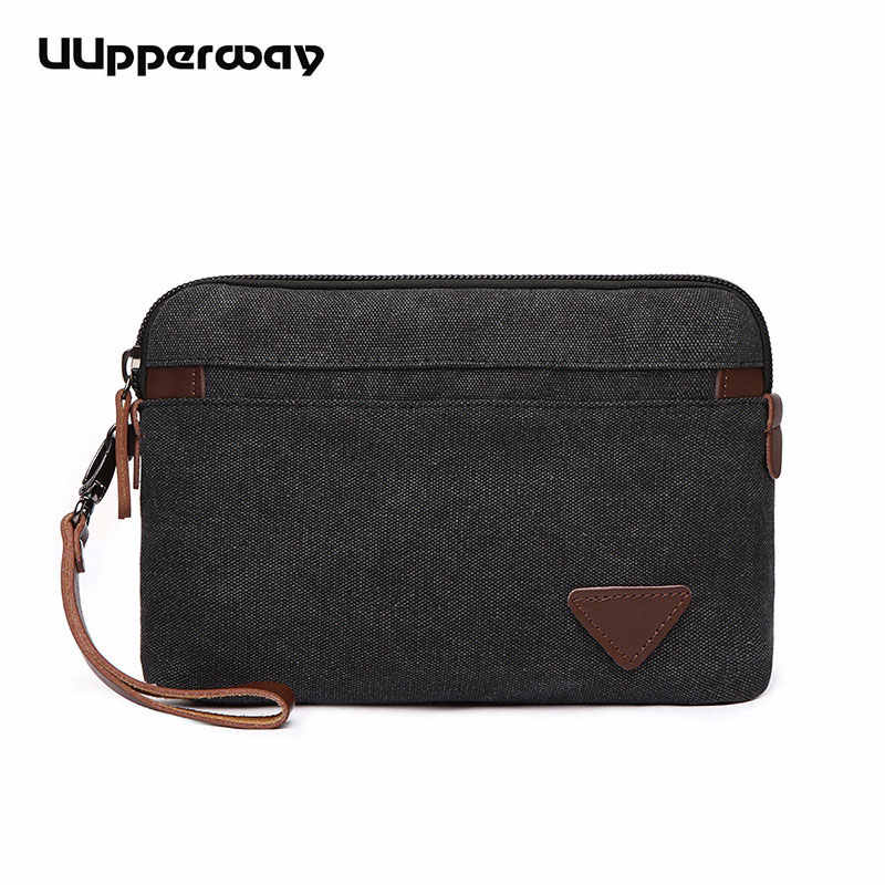 Famous Brand Canvas Envelope Men Clutch Bag Fashion Man High Capacity purse Male Clutch Wristbands Zipper Mens Long Wallet Bags