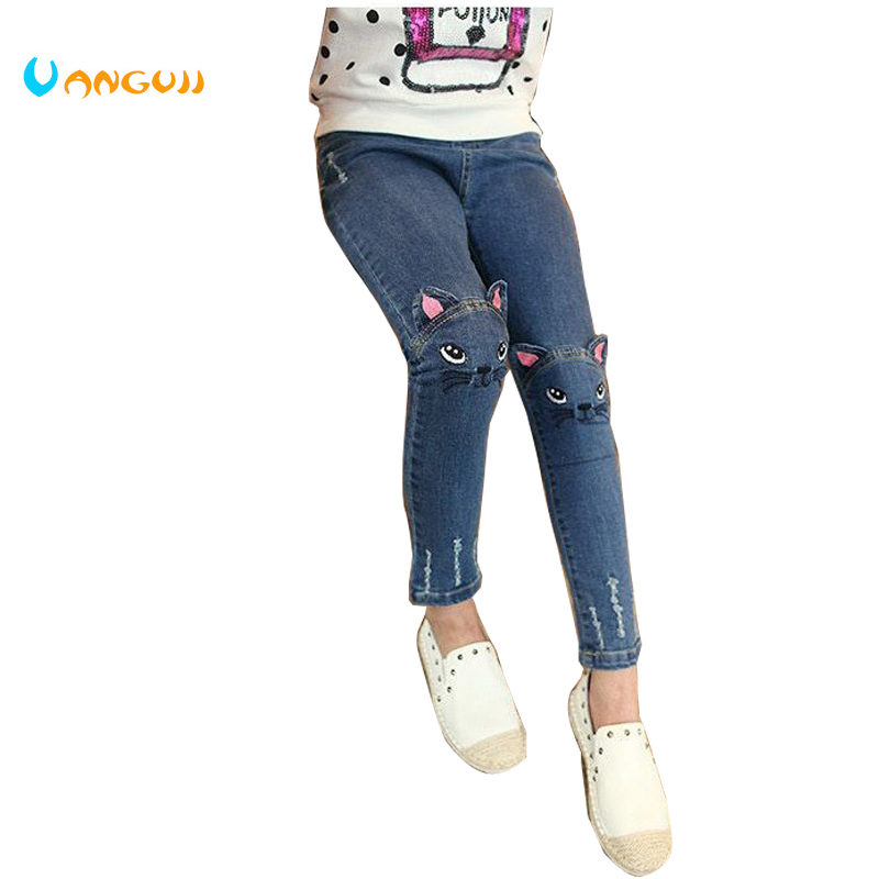 2018 Spring and Autumn hot children's fashion Slim jeans 3-9 year old girl cartoon embroidery cat casual pants wild pants