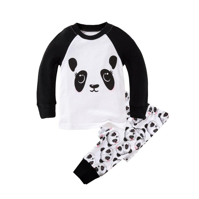 Fashion pig kids pajamas set baby girl clothes Panda prints long-sleeve children clothing set cartoon sleepwear pyjamas pijama