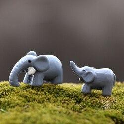 2 słodkie słoń ozdoby doniczkowe figurka żywica mech szklany pojemnik bajki ogród dekoracji dekoracja stołu prezenty dla dzieci|Figurki i miniatury|   -