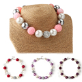 2Pcs Hot Selling Imitation Pearl Gumball Beaded Kids Chunky Bubblegum Necklace for Girls Toddler Birthday Party Best Gift