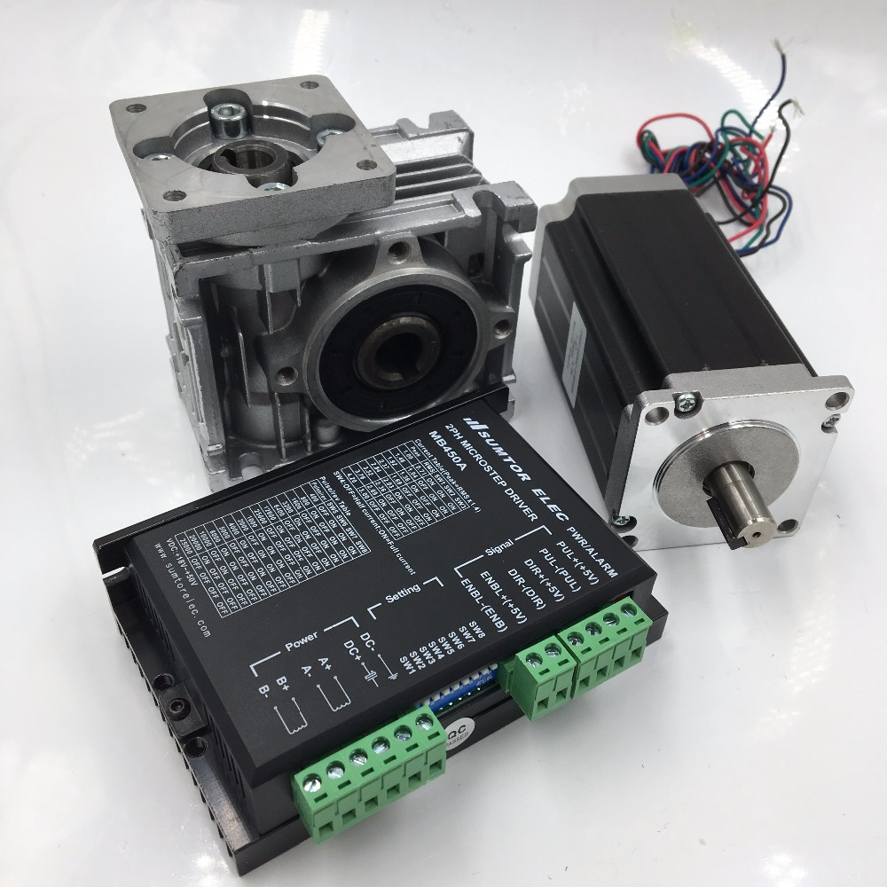Nema23 Stepper Motor L56mm 7.5:1 Geared Worm Reducer Gearbox 8.25Nm with 2ph DC24-50V 4.2A Geared Stepper Driver Kit