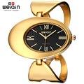 WEIQIN Женщины Марка Часы Водонепроницаемые Рим Стиль Овальный Золотой Тон Выдалбливают Браслет Часы Моды Платье Дамы Наручные Часы