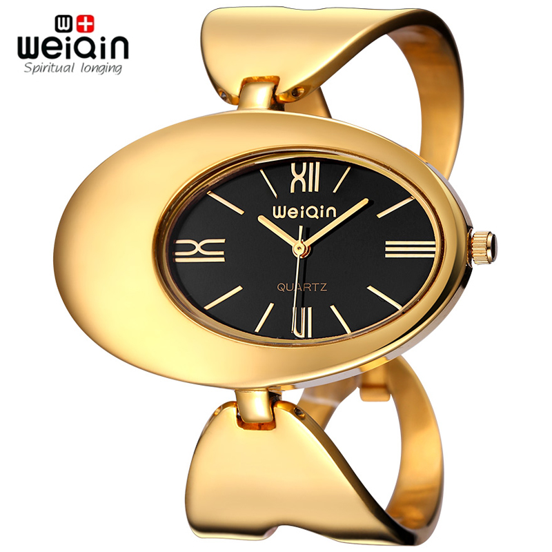 WEIQIN Women Brand Watch Waterproof Rome Style Oval Gold-Tone Hollow Out Bangle Bracelet Watches Fashion Dress Ladies Wristwatch love heart hollow out infinity bracelet watch
