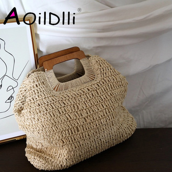 Korean caramel color ins wind handmade straw bag handbag lady summer large capacity French retro beach bag