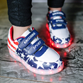 Boys Shoes 2016 New Spring Autumn USA Star Led Shoes Boys Casual PU Lighted Shoes Children Sneakers With Light