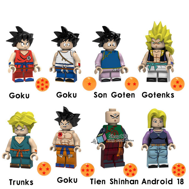 8pcs lot legoing dragon ball figures goku son goten gotenks trunks