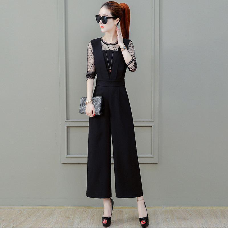 2019 Summer Women Lace Patchwork Chiffon   Jumpsuit   Female Hollow Out Slim Strap Playsuit Lady Elegant Wide Leg Loose Rompers Z283