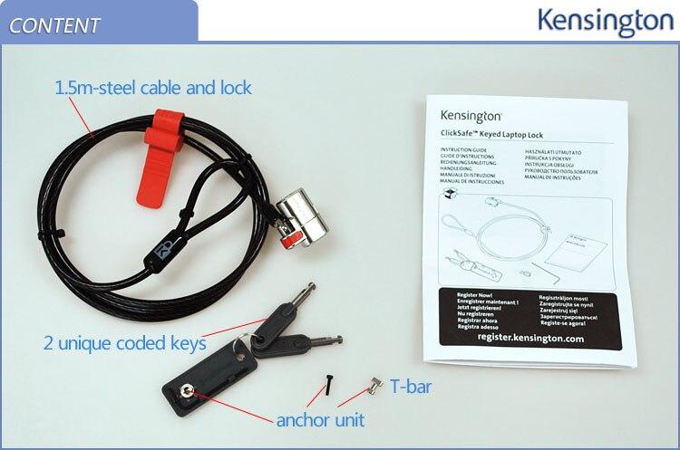 Image 4 - Kensington oryginalny Anti theft ClickSafe z kluczem laptopa Ultrabook blokady z 1.5 m kabel bezpieczeństwa łańcuch z opakowania detalicznego K64664laptop locklaptop security locklaptop cable lock -