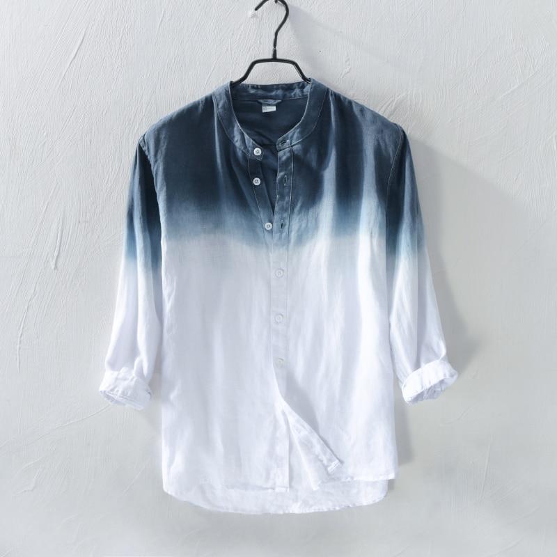 2018 Pure Linen Shirt Men S Long Sleeve Summer Thin