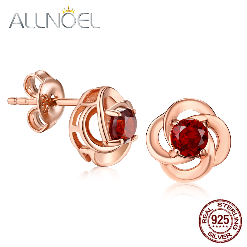 ALLNOEL Silver 925 Rose Gold Earrings With Grenades For Women Red Garnet Gift On March 8 Women's Earrings Bijoux En Argent 925