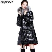 XSJPZH зима 2018 Новый женский пуховик модная с длинным рукавом с капюшоном плюшевая длинная секция теплая верхняя одежда широкая талия куртка