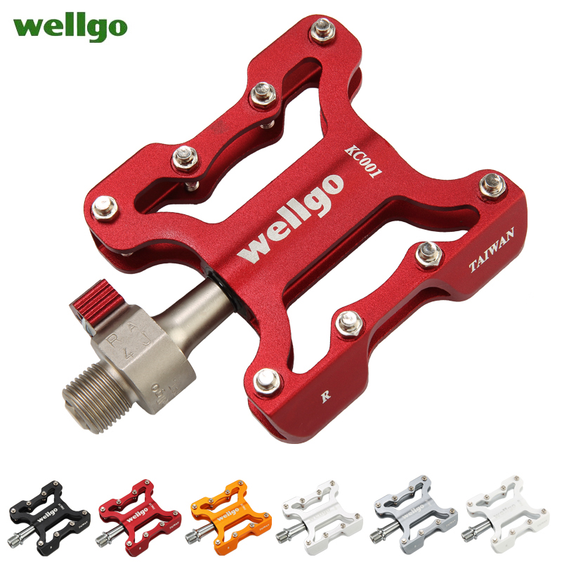 wellgo KC001 aluminum alloy road bike pedal mountain bike pedal bicycle parts Folding bike pedal bike lock pedal titanium folding bike bicycle pedal axles spindles shafts 55g pair for crops vp one vp one vpone primary gold