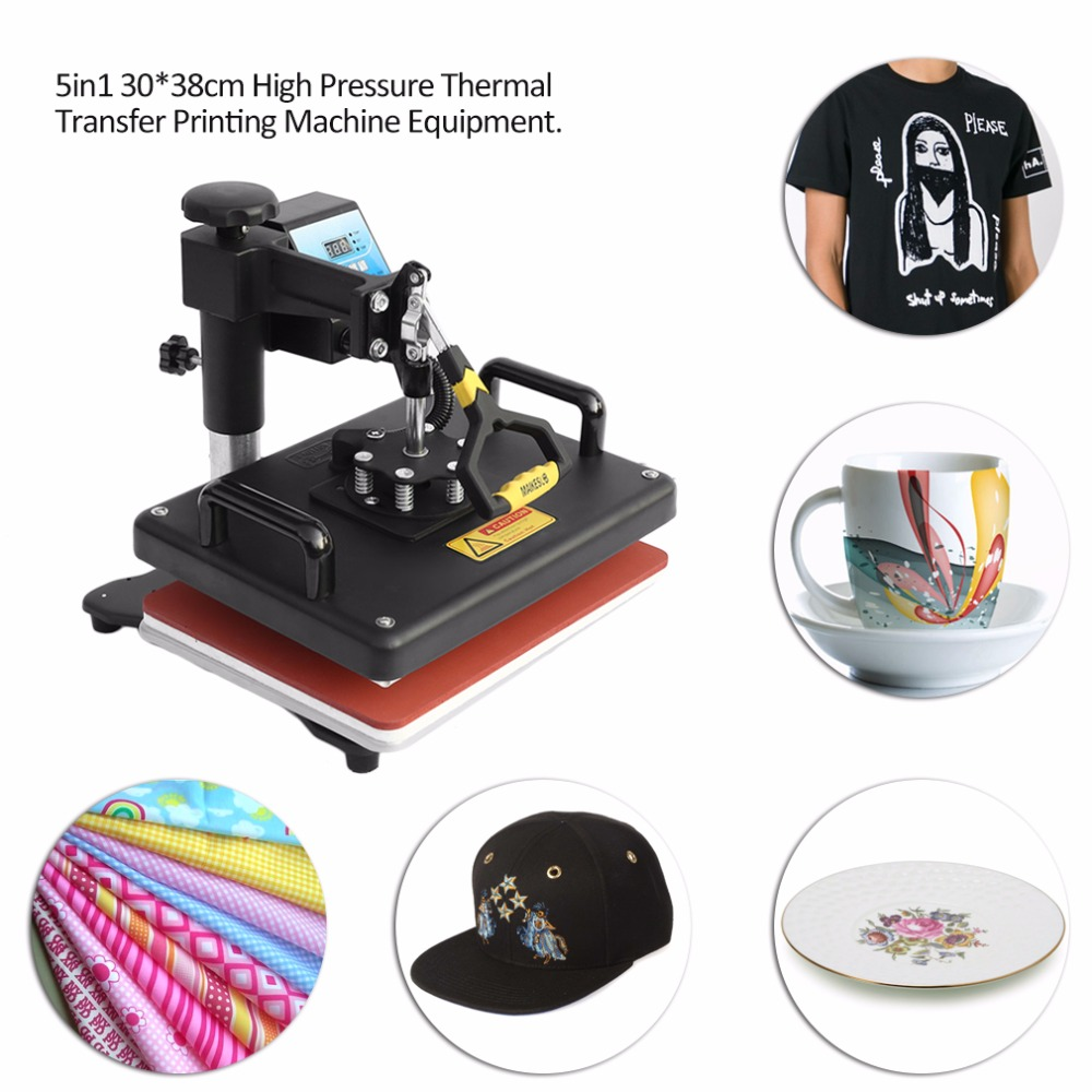 5 in 1 Comb Heat Press  30x38cm Intelligent Temperature Control Thermal Transfer Printing Machine Equipment 1 pcs 38 38cm small heat press machine hp230a