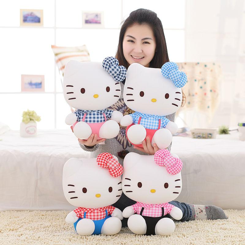 ФОТО High-quality hello kitty plush toys Stuffed dolls for girls kids toys gift 28cm free shipping