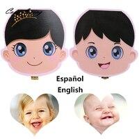 New Spanish English Language Wood Tooth Box For Kids Boy Girl Save Baby Milk Teeth Wood