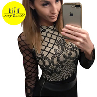 BiSHE Black Overalls For Women O Neck Long Sleeve Playsuit Female Romper Body Suit Hollow Slim