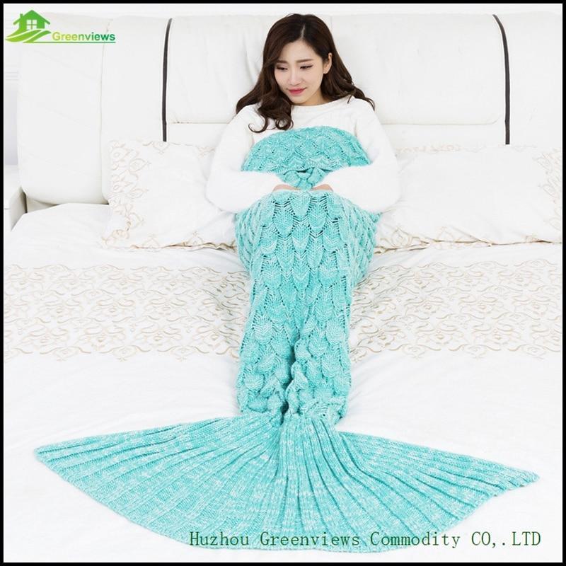 squama design mermaid tail blanket yarn knitted mermaid blanket soft wearable portable blankets. Black Bedroom Furniture Sets. Home Design Ideas
