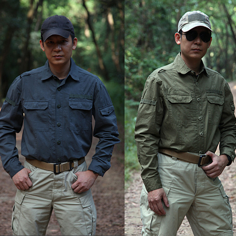 Spring Autumn Men Military Tactical Cotton Breathable Multi Pocket Full Length Shirts Male Outdoor Hunting Long Sleeve Shirt Top men military tactical outdoor shirts 100% cotton breathable long sleeve shirt army multi pockets swat shooting urban sports