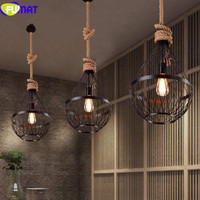 FUMAT Retro Pendant Light American Country Restaurant Light Vintage Industrial Black Iron Pendant Lamps With Hemp