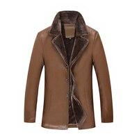 Neue große größe 8XL 7XL 6XL Winter männer Echte Leder Jacken marke Braun Schaffell Jacke und Mäntel mit Pelz Wolle Kragen Warme