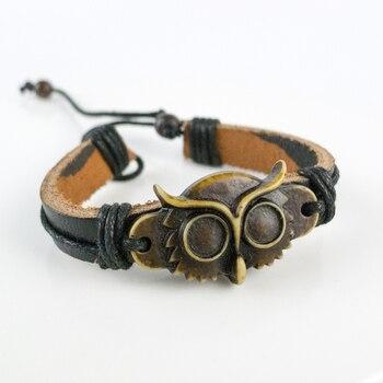 Coruja escultura masculino pulseira de couro limitação yak material osso arte do osso vintage pulseiras para o homem # gz432