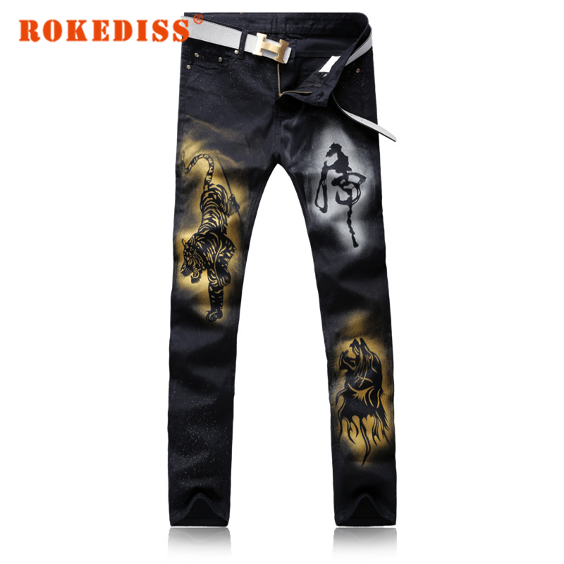 ФОТО Men's casual tiger colored drawing print jeans Fashion slim straight black stretch denim pants Long trousers Mens Jeans G255