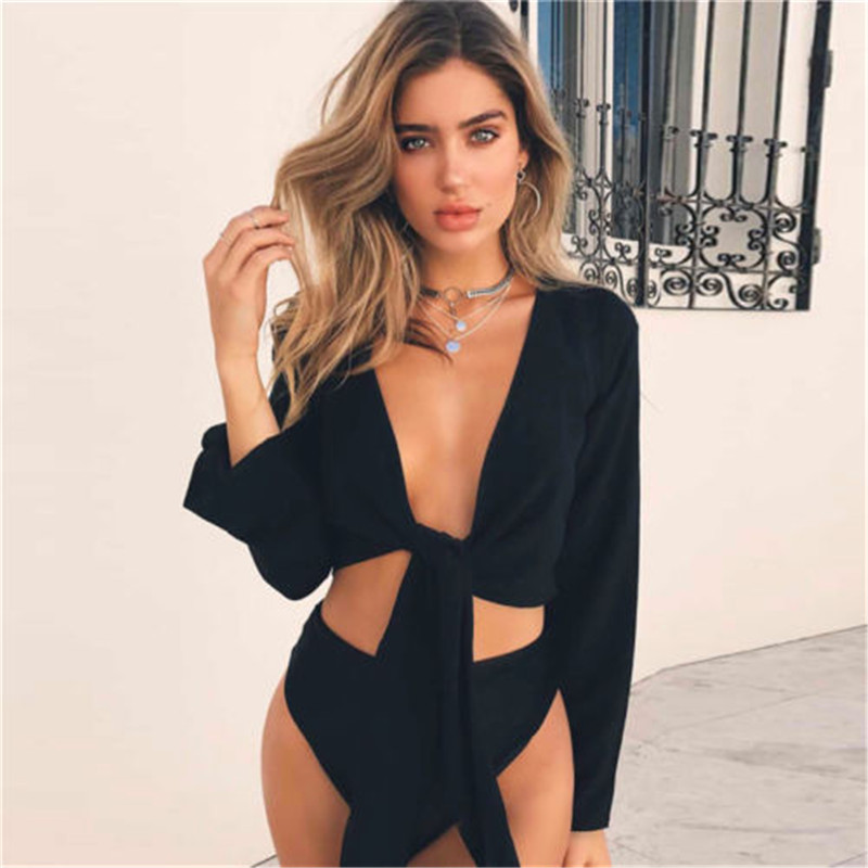 Fashion Women Summer Casual Knot V Neck Ruched Solid Bow Tie-Front Crop Tops   Blouse     Shirts   Flare Long Sleeve   Blouse     Shirt   New