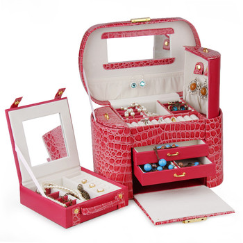 ROWLING New Red Jewelry Boxes And Packaging PU Leather Storage Makeup Case Jewelry Organizer Container