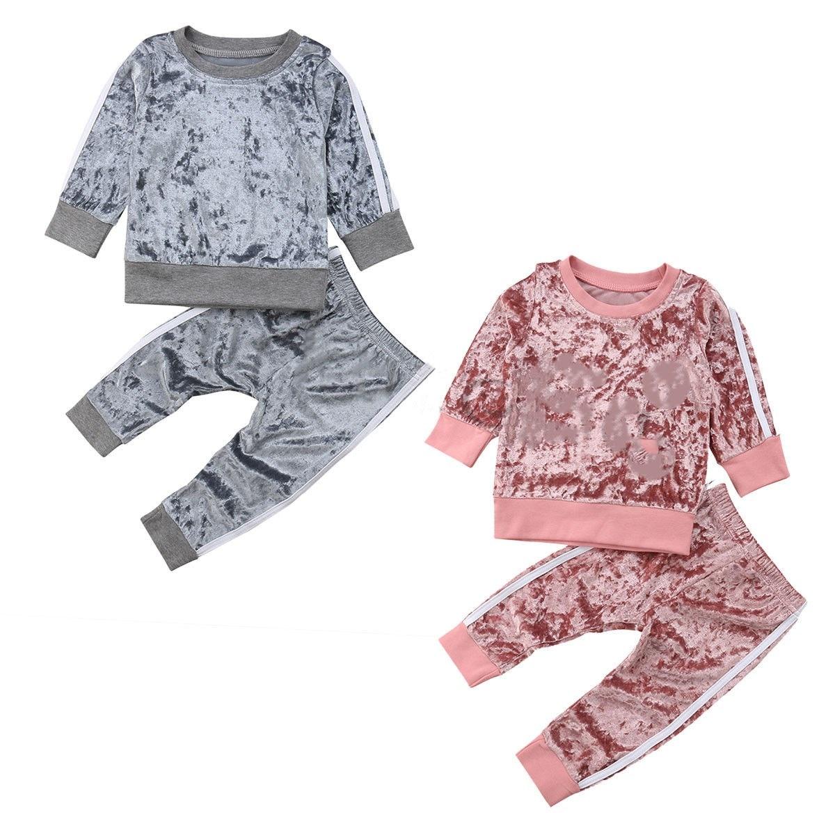 Kids Baby Boys Girls Sports Clothes Stripe Velvet Suit Autumn Spring Outfits Set