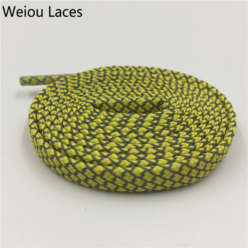 Weiou Flat 3M Reflective Shoelaces HERRINGBONE PATTERN High Visibility Runner Safety Athletic Shoe Laces Night Walk Bootlaces противоскользящие полоски safety walk цвет серый 6 шт