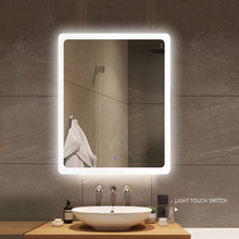 Квадратное стеклянное зеркало для ванной, настенное, умное Сенсорное, противотуманное, светодиодный, туалетное зеркало, Фреска с влагостойким зеркалом для ванной, туалетный столик на заказ