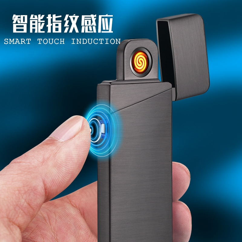 Smart Touch Electronic Lighter Double Sided Ignition Ultrathin Creative Rechargeable USB Lighter Custom Made Lighter Men Gift